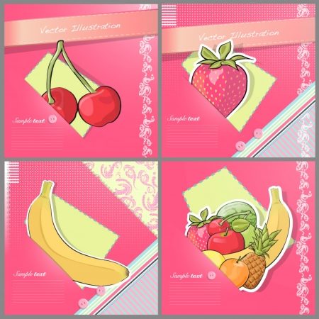 Funny postcard with multiple fruit collection  Vector images of background Stock Vector - 17470183