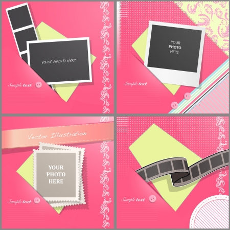 Nice brochure with empty photos and stamps  Vector background design Stock Vector - 17470168