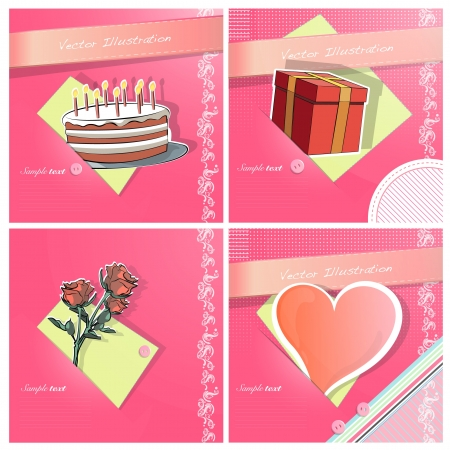 Heart love, cake, flower, and gift box on colorful fabric pieces  Vector illustration   Stock Vector - 17470171