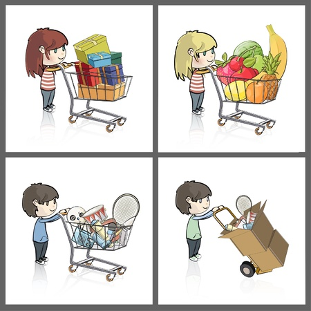 Girl and boy buying many gifts and items in a toy store shop  Vector illustration   Vector