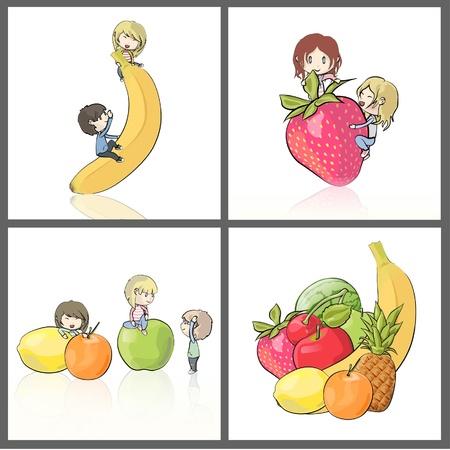 amigos comiendo: Muchos ni�os disfrutan de entre un mont�n de im�genes de recogida de la fruta de ilustraci�n vectorial aislado