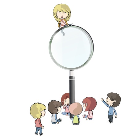 scrutiny: Kids around magnifying glass. Vector design.