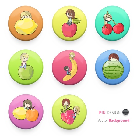 Children playing with fruits printed on colorful badges. Vector design.  Vector
