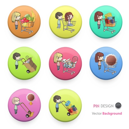 Kids buying many gifts and items printed on colorful badges. Vector design.  Vector