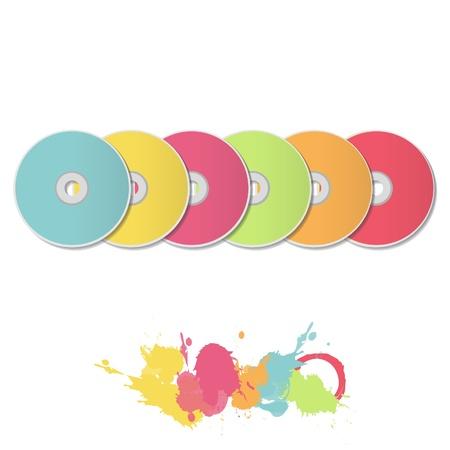cds: Colorful CDs on white background  Vector design   Illustration