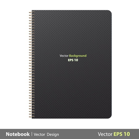 notebook cover: Ring notebook with black cover  Vector design   Illustration