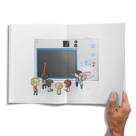 Open book with camera inside  Vector design
