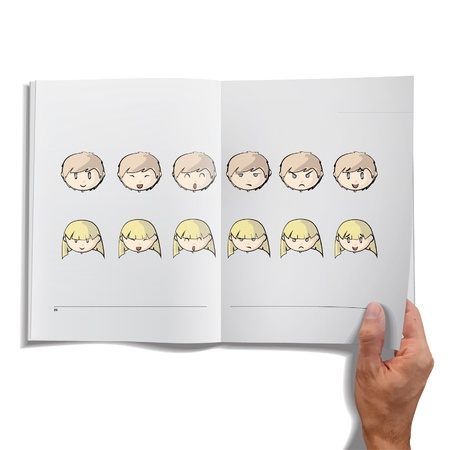 Open book with faces of kids inside  Vector design Stock Vector - 17613669