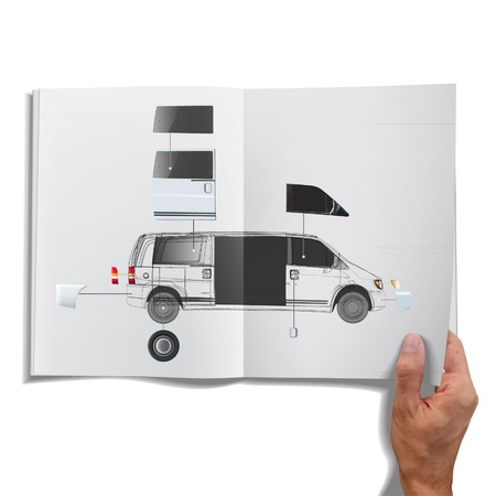 open magazine: Open book with van inside  Vector design  Illustration