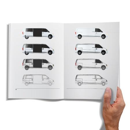 Open book with sketch van inside  Vector design   Stock Vector - 17613704