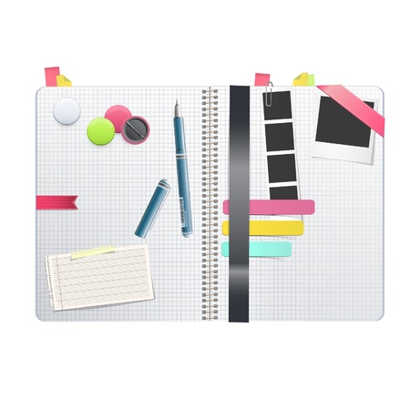 Open white notebook with several elements inside  Vector design   Vector