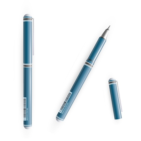 blue pen: Realistic blue pen  Vector illustration   Illustration