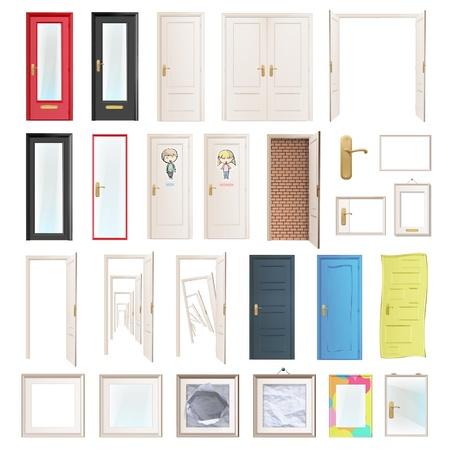 cerrar la puerta: Colecci�n de ilustraci�n vectorial puertas