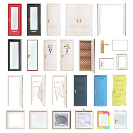 old door: Collection of doors  Vector illustration