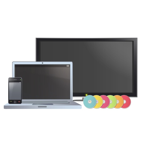 Set of TV, computer,CD and phone  Vector design   Vector