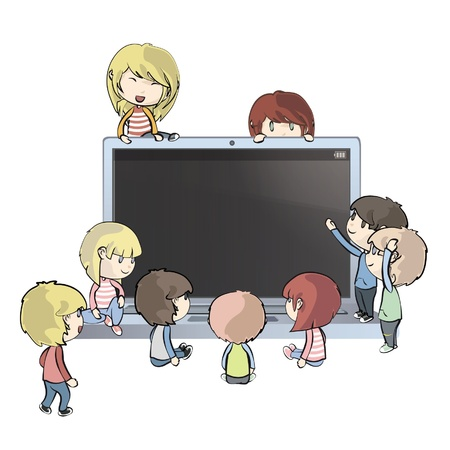 computer cartoon: Kids around PC  Vector design