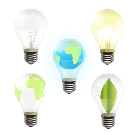 Collection of realistic bulb isolated on white  Vector design   Vector