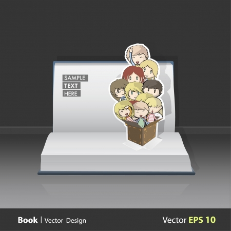 Lot of kids inside a box on a Pop-Up Book. Vector background design. Stock Vector - 17613768