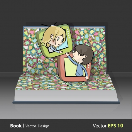 Children in televisions inside a open Pop-up book. Vector design.  Stock Vector - 17613763