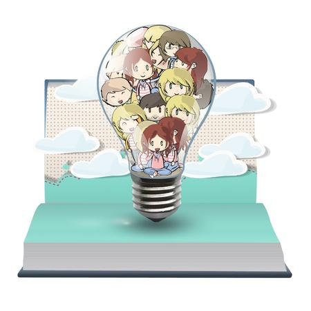 pop up: Veel kinderen in een bol op een pop-up boek. Vector illustratie.