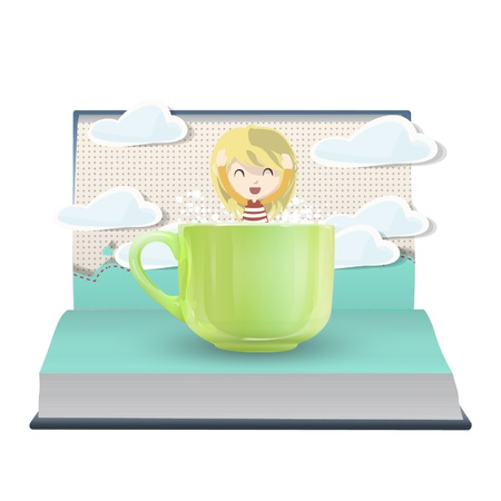Girl inside a cup on a pop up book. Vector illustration.  Vector
