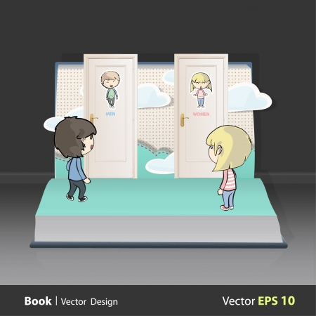 open magazine: Toilet doors with kids on a book. Vector illustration.