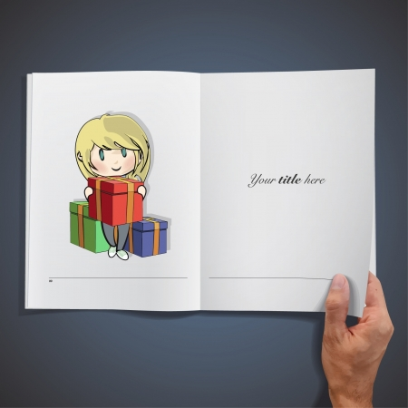 Open book with illustrations of girl giving a gift for for a birthday. Vector design. Stock Vector - 17786809