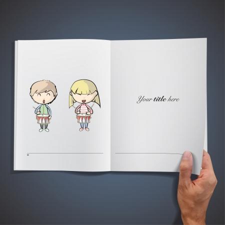 libro caricatura: Niños jugando tambor dentro de un libro. Vector de diseño.
