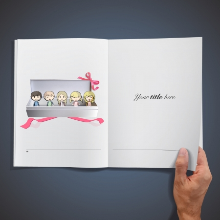 Many friends in a gift box inside a book. Vector illustration. Stock Vector - 17786810