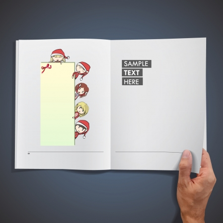 Group of children with Santa s costume holding a empty placard inside a book  Vector illustration   Vector