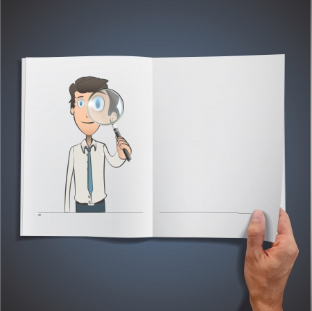 Business man with magnifying glass inside a book  Vector design Stock Vector - 17786818