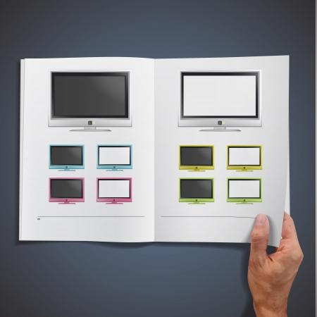 Modern TV printed on white book, Vector design Stock Vector - 17786823
