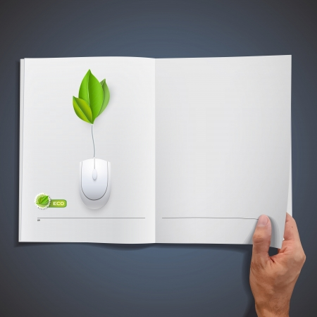 White book with mouse  Vector design  Illustration