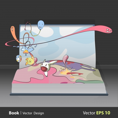 Abstract background with fantastic cartoons inside a book. Vector design.  Stock Vector - 17786991