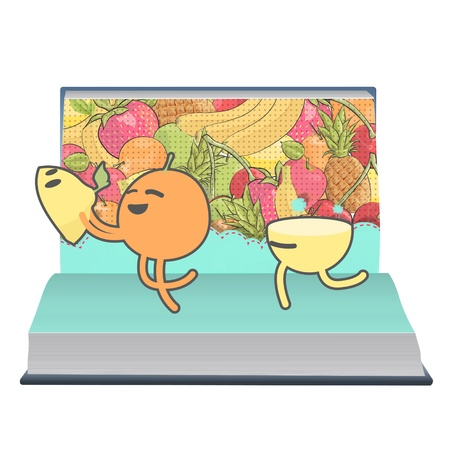 limon: Orange and lemon playing inside a book. Vector design.