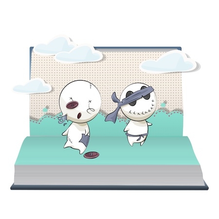 Broken dolls inside a book. Vector design.  Stock Vector - 17787002
