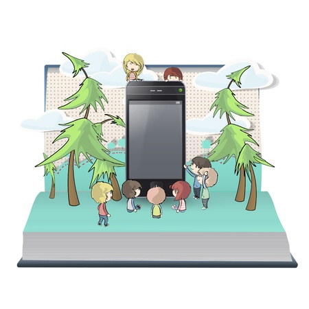 on decorate mobile telephone: Many kids with phone inside a book. Vector design.