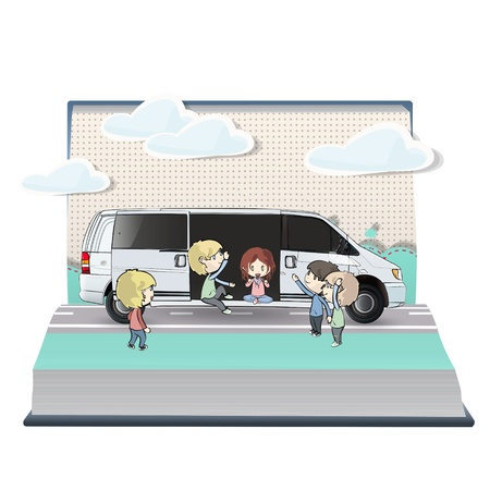 decorate notebook: Many kids with van inside a book. Vector design.