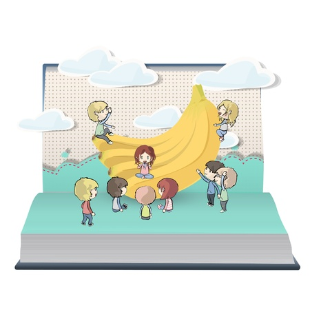 Bananas with many kids on book. Vector design. Vector