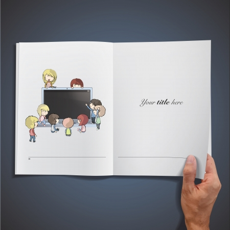 Open white book with kids around PC. Vector design. Stock Vector - 17787086