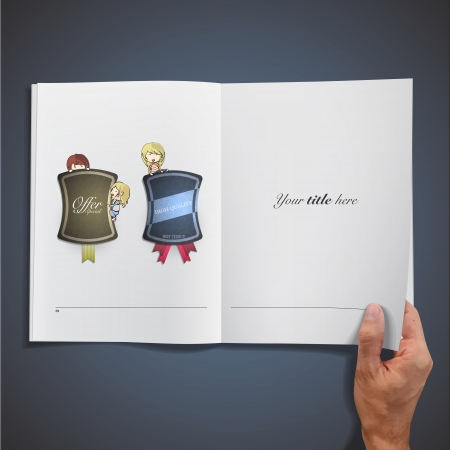Open white book with kids holding vintage labels. Vector design. Stock Vector - 17787129
