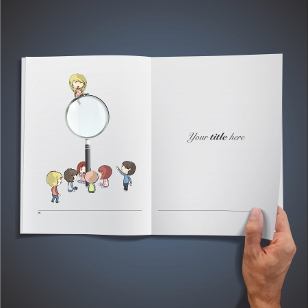 Open white book with kids around a magnifying glass. Vector design. Stock Vector - 17787087