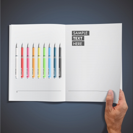 Open white book with colorful pens inside. Vector design. Vector