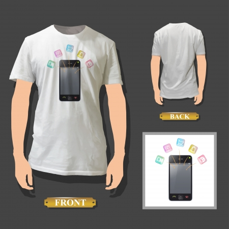 Phone with icons printed on white shirt. Realistic vector illustration.  Stock Vector - 17787045