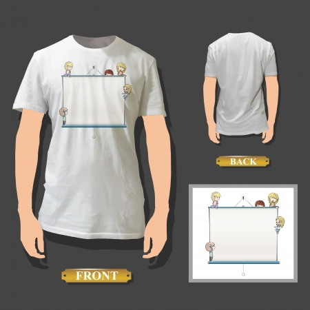Kids around white board printed on white shirt. Realistic vector illustration.  Vector