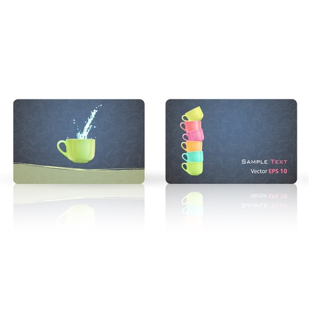 Colorful cup printed on Business card. Vector design Stock Vector - 17787084