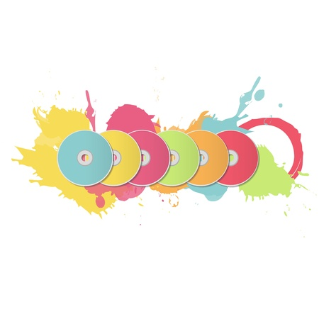 cds: Colorful CDs on white background  Vector design