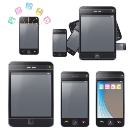 Set of phones with different forms  Vector design  Vector