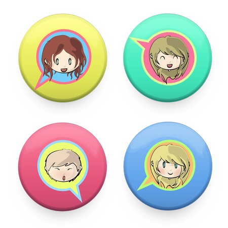 Button with kids inside  Vector design   Vector