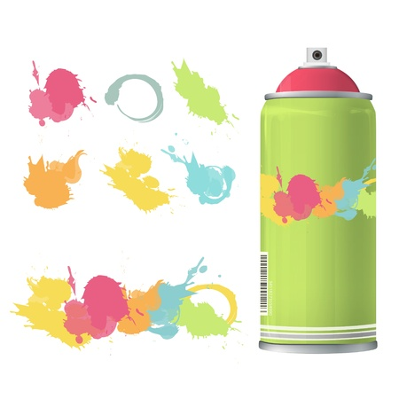 compressed gas: Spray color with graffiti drop  Vector design